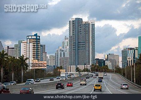 Skyscraper, Usa, Miami, Multiple Lane Highway