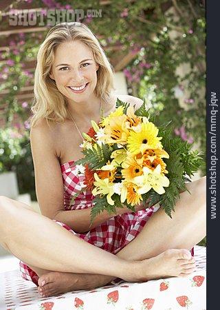 Woman, Summer, Bouquet