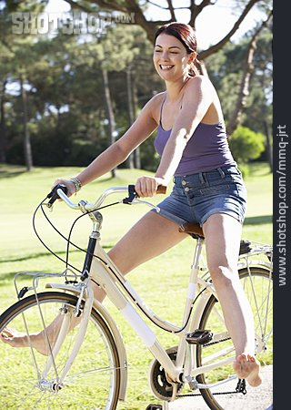 Woman, Bicycle, Cycling