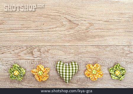 Flower, Heart, Wooden Board