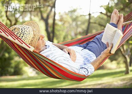 Man, Senior, Reading, Hammock