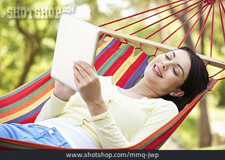 Young Woman, Reading, Electronic Book, Tablet-pc