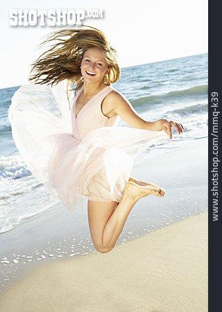 Young Woman, Jump, Vacation, Vitality