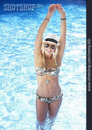 Young Woman, Summer, Swimming Pool, Resort Swimming Pool