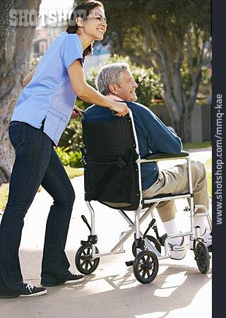 Old Nurse, Wheelchair, Caregiver