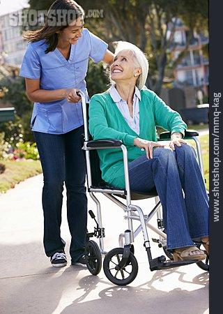 Old Nurse, Rehabilitation, Wheelchair, Health Care
