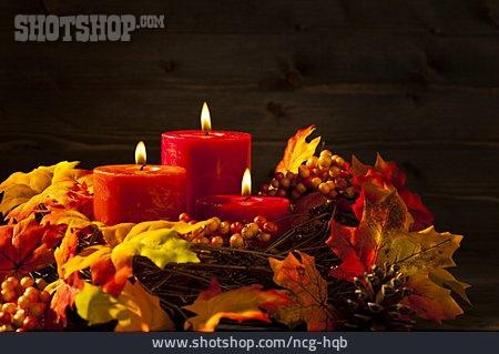 Decoration, Candle, Arrangement, Autumn Decoration