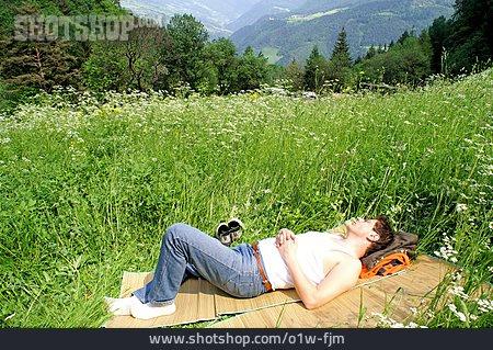 Man, Resting, Mountain Meadow