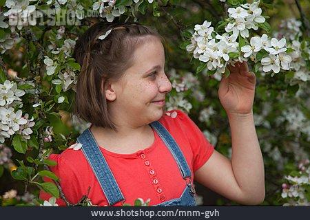 Girl, Spring, Apple Blossom