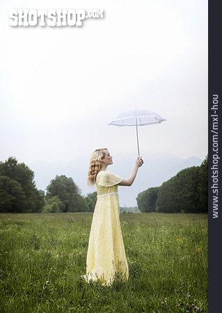 Woman, Weather, Parasol