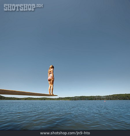 Child, Lake, Summer, Diving Board