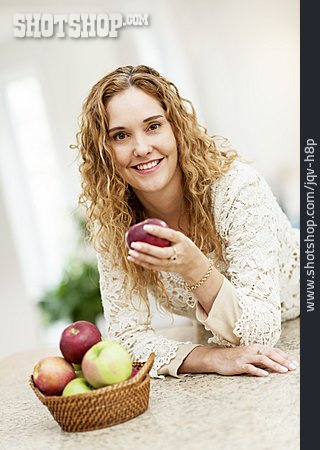 Woman, Healthy Diet, Apple