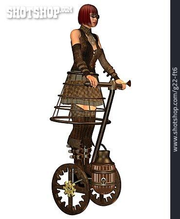 Woman, Vehicle, Steampunk, Segway