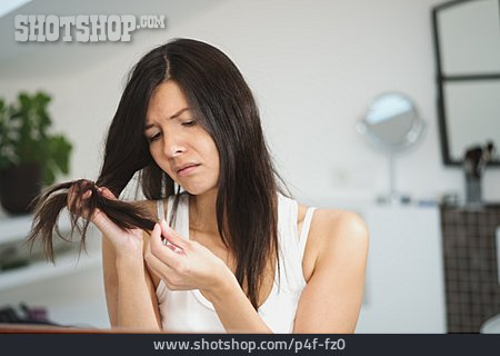 Young Woman, Check, Split, Hair Ends