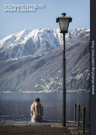 Young Woman, Waiting, Mountain Lake
