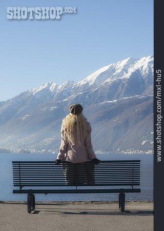 Young Woman, Waiting, Bank
