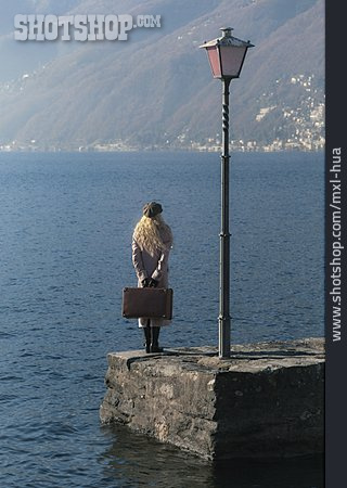 Young Woman, Waiting, Travel, Suitcase