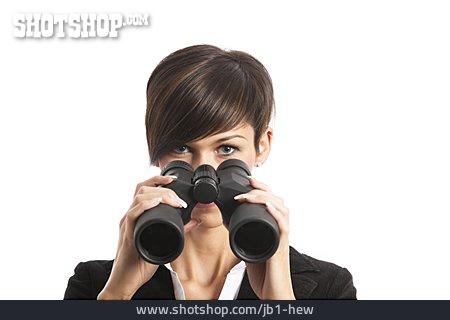 Woman, Watching, Binoculars