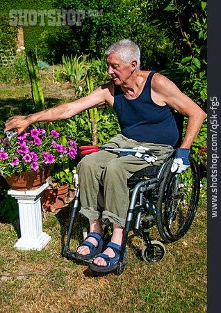 Senior, Gardening, Wheelchair