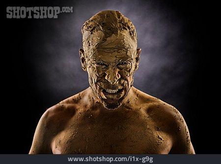 Man, Threatening, Mud Mask, Zombie