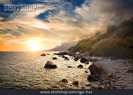 Sunset, Sea, Coast
