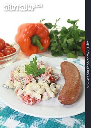 Sausage, Noodle Salad, Mettwurst