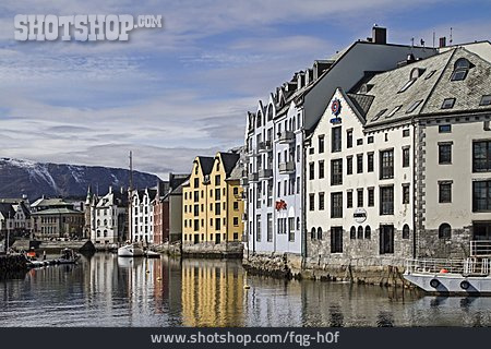 Norway, Alesund, Row Of Houses