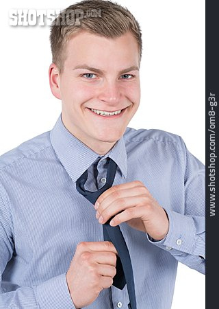 Young Man, Businessman, Tie, Tying