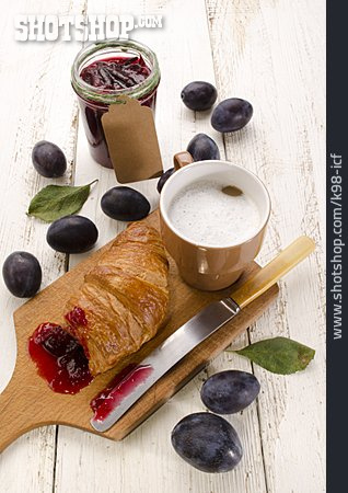 Croissant, Plums, Plum Jam