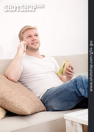 Young Man, Eating & Drinking, Domestic Life, On The Phone