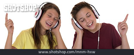 Boy, Girl, Music, Listen, Headphones