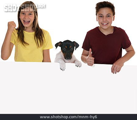 Copy Space, Boy, Girl, Dog, Shield, Present