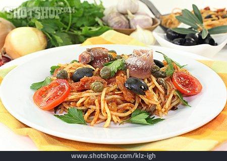 Pasta Dish, Italian Cuisine, Spaghetti Alla Puttanesca