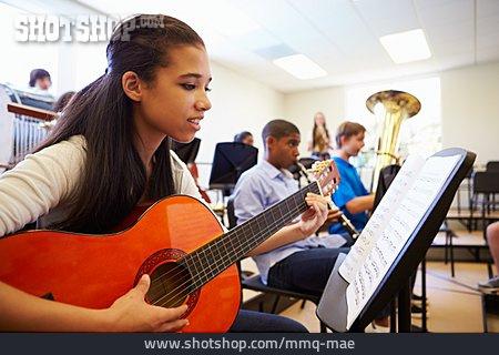 Schoolgirl, Music School, Music Students, Playing Guitar