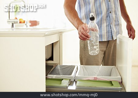 Man, Waste Separation, Plastic Bottle