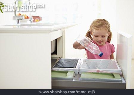 Girl, Trash, Waste Separation, Plastic Bottle