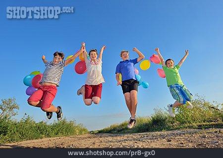 Child, Fun & Happiness, Jump, Friends