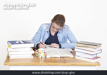 Young Woman, Learning, Schoolgirl, Student