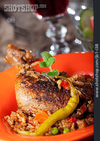 Chicken Thighs, Balkan Cuisine, Djuvec Rice