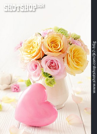 Heart, Bouquet, Mothers Day, Flower Vase