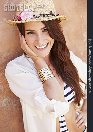 Young Woman, Blouse, Straw Hat