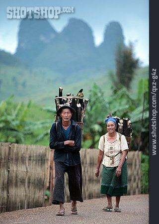 Rural Scene, Residents, Laos