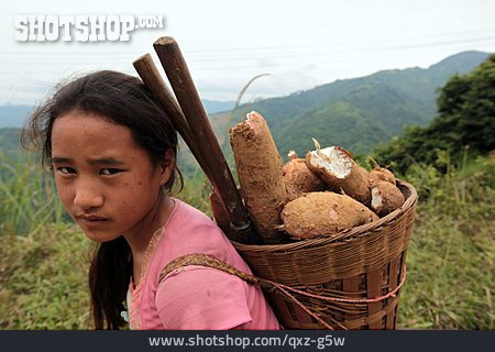 Girl, Rural Scene, Residents, Laos
