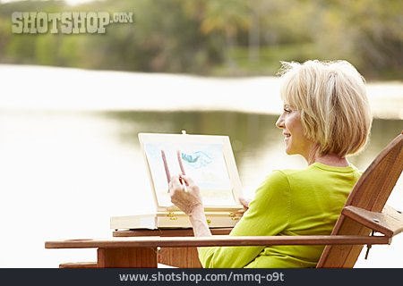 Woman, Senior, Painting, Hobbies