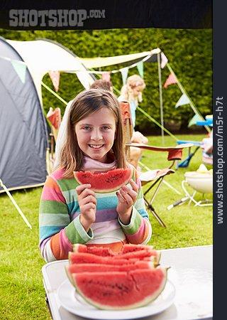 Girl, Watermelon, Camping, Camping