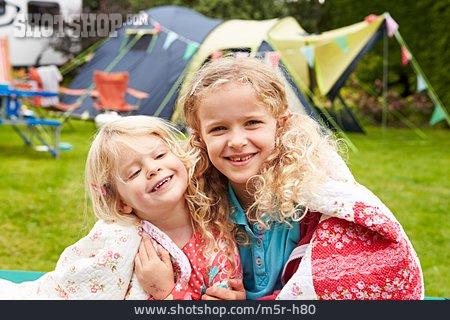 Girl, Siblings, Camping