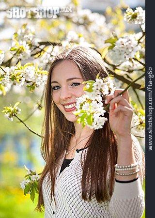 Girl, Cherry Blossom, Spring