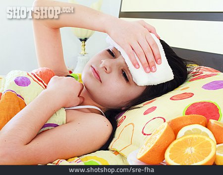 Girl, Sick, Flu, Fever