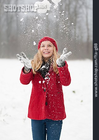 Woman, Snow, Winter Mood, Tossing Up