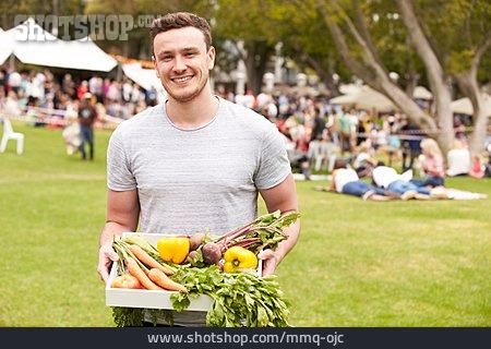 Man, Greengrocer, Delivering, Host